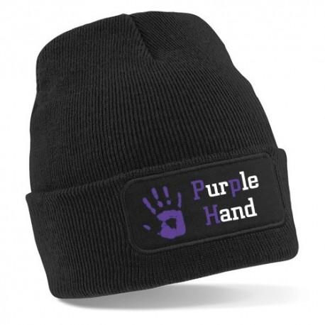 Bonnet noir 100% acrylique. Marquage : l'empreinte de main et le logo de la marque Purple Hand.